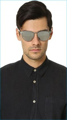 """Oliver Peoples Mirrored Sheldrake Metal Sunglasses: """"Mirrored Oliver Peoples Eyewear sunglasses updated with a matte metallic frame. Chrome rivets at the temples. Translucent, branded arms. Silicone nose pads. Hardshell case and cleaning cloth included."""""""