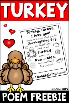 Turkey, Turkey Poem FREEBIE!