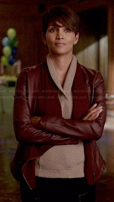 Molly's oxblood draped front leather jacket on Extant.  Outfit Details: http://wornontv.net/35024/ #Extant
