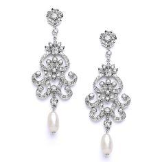 Isabelle Cubic Zirconia Freshwater Pearl Bridal Earrings