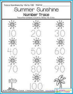 So, here's a great worksheet to practice not only number tracing and number formation, but also counting to 100 by 10s. How many rays are coming out of each sun? Challenge question: If there are 10 for each sun, how many rays are on the page? Please check out my August Counting Worksheets set. You'll find this page and may more to keep you counting all August long. :) Counting Worksheets For Kindergarten, Summer Worksheets, Graphing Worksheets, Kindergarten Math, Number Formation, Counting To 100, Number Tracing, Writing Lines, Learn To Count