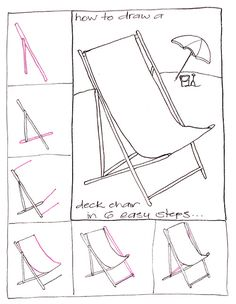Draw a deck chair. Step by step drawing.