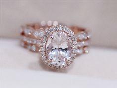 3 Rings Morganite Wedding Set VS 6X8mm Pink by AbbyandWills