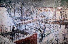 IMG_1171 Henri Victor Wolvens. 1896-1977. Jardins sous la neige. 1938.  Gardens under the snow.  Ixelles.  Musée des Beaux Arts. | by jean louis mazieres