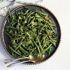 Blistered Green Beans with Garlic and Miso Recipe  So goood. I used zucchini, green beans and cucumber.