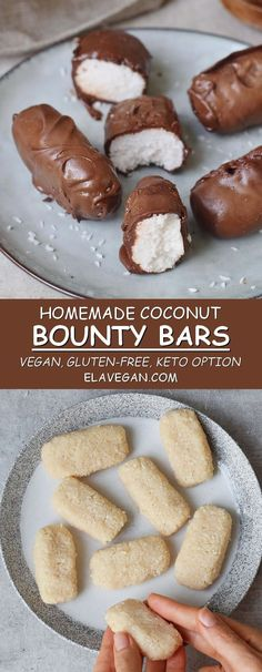 These homemade coconut chocolate bars (vegan Bounty bars) are the perfect dessert if you love coconut and chocolate. Only 7 ingredients and no oven required. This no-bake recipe is vegan, gluten-free, easy to make and can be made refined sugar-free, and keto-friendly. #veganbounty #glutenfree #Bounty #bountybars #vegandessert #chocolate #coconut #elasrecipes | elavegan.com
