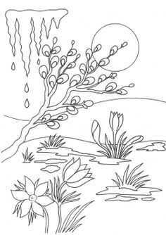 Раскраска Весенняя капель Christmas Coloring Pages, Coloring Book Pages, Free To Use Images, Landscape Drawings, Technical Drawing, Spring Colors, Flower Patterns, Line Art, Embroidery Patterns