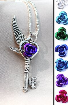 My Rose Heart Key Necklace by KeypersCove on Etsy, $9.99 So pretty...Gonna have to ask my jewelry lady if she can do something like this :)