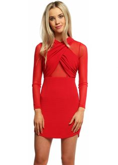 This red Ginger Fizz Cross My Heart dress is sure to set temperatures rising at your next event. More sexy party dresses available online Ginger Fizz, Sheer Mesh Top, Designer Party Dresses, Heart Dress, Sexy Party Dress, Short Sleeves, Glamour, Clothes For Women, Mini