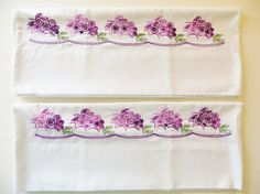 Vintage Embroidered Pillowcases, Pair of White Pillowcases with Purple Green, Unused, Vintage Handmade Bed Linens by CatBazaar on Etsy