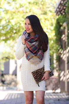 My love sweater dress, leopard clutch and plaid blanket scarf