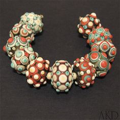 Lampwork Glass Beads Set, Round Beads AKDesigns Mexicali. $129.00, via Etsy.