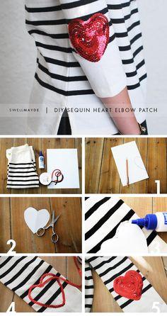 DIY Clothes DIY Refashion DIY Clothes Refashion: DIY Sequin Heart Elbow Patch