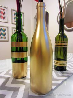 DIY Spray Painted Wine Bottles for Fall Decorating | Homey Oh My!