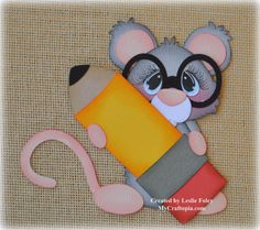 Mouse with a pencil School Premade Scrapbooking by MyCraftopia, $5.95