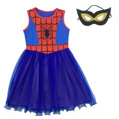 Spider Man Cosplay Baby Girl Dress Costumes Children Dress Kid Clothing Princess Halloween Party Clothes Girls Dresses + Mask #Affiliate