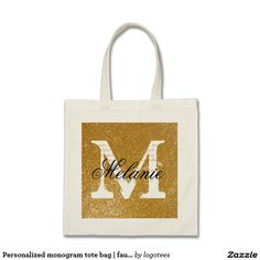 Personalized monogram tote bag | faux gold glitter Personalized name monogram tote bag | faux gold glitter Elegant logo design with chic monogrammed letter initials. Cute vintage gift idea for classy bride, flower girls, maid of honor and bridesmaids at fancy wedding or bridal shower Stylish script typography with luxurious golden background texture. Golden luxury style design with fake shiny sparkles.