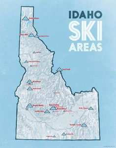 US Ski Resorts Map 24x36 Poster