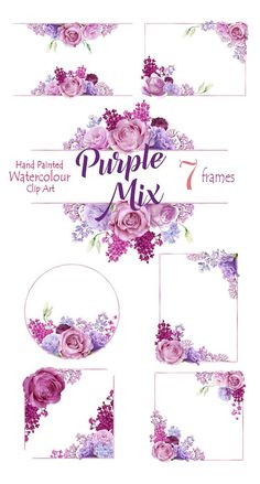 Watercolor Clipart Hand painted Flower Frames Purpl Roses
