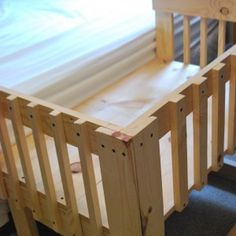 A co-sleeper is a baby bed that attaches to one side of an adult bed. It allows baby to remain close to the parents at night without actually being in the adult bed (which can be dangerous sometime… Baby Crib Diy, Baby Cribs, Baby Crib Bedding, Co Sleeper Bed, Diy Bett, Shower Bebe, Diy Bed Frame, Baby Bedroom, Baby Furniture