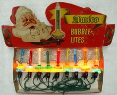 1 strand of Bubble lights from the 1950s. Looooove the graphics on the box too!!!