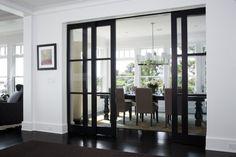 black doors with white trim