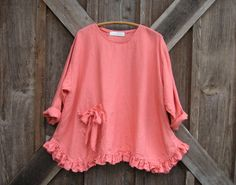 linen blouse top in coral papaya ready to ship by linenclothing