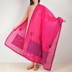 Pink Pattern Stitched Organdy Dupatta This beautiful organdy dupatta with applique and running stitch hand treatment which makes this simple drape more beautiful. This garment is all about colors and stitched patterns. It can make a simple dress look gorgeous. Shop now at: http://www.tadpolestore.com/tara