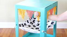 Adding yarn fringe to hammock Cat Playhouse, Cardboard Playhouse, Diy Cardboard, Cat Tree House, Cat House Diy, Cardboard Cat House, Cat Castle, Cat Wall Shelves, Cat Naps