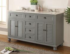 "62"" Vantage Gray Cottage Look Double Sink Glennville Bathroom sink vanity Model GD-21999CK"