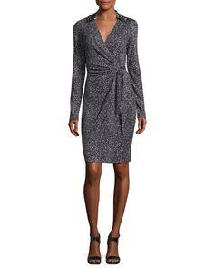 DIANE VON FURSTENBERG Jelsa Silk Jersey Faux-Wrap Dress, Stella Mini Black. #dianevonfurstenberg #cloth #