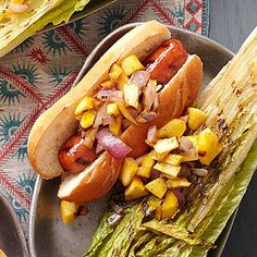 Brats never looked so good. Refresh the condiment lineup at your next cookout with a topper brighter than mustard: mango. The sweet yellow fruit joins red onions and tantalizing jerk seasoning for a relish you can't resist. Cookout Side Dishes, Cookout Food, Tailgate Food, Hamburgers, Side Recipes, Pork Recipes, Recipies, Mango Relish Recipes, Brat Sausage