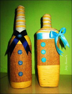 DIY bottle decoration : vintage ~by Fely Komul