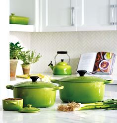 Colour Obsessed: Go bold in the kitchen with colourful cookware like Le Creuset's enamelled cast iron pieces in its latest hue, Palm.