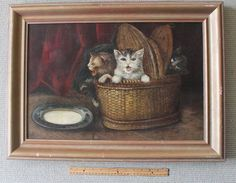 Large Antique Framed Oil on Canvas of 4 Kittens in a Basket/circa 1880 #Americana
