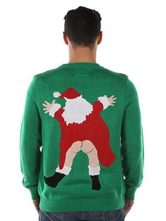 Tipsy Elves Men's Censored Santa Christmas Sweater Large at Amazon Men's Clothing store: