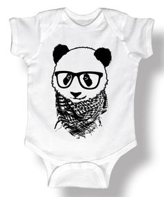 Look at this White Hipster Panda Bodysuit - Infant on #zulily today!