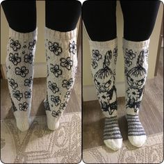 Knitted kneesocks with littlemyy from moomin Knitting Charts, Lace Knitting, Knitting Socks, Knit Crochet, Yarn Stash, Wool Socks, Happy Socks, Moomin, Handicraft