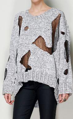 Nooooooo. No amount of sheer sexiness can make your frumptastic sweater mess look good.