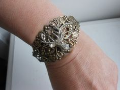 Stag antiqued gold filigree cuff upcycled brooch by 2007musarra, $42.99