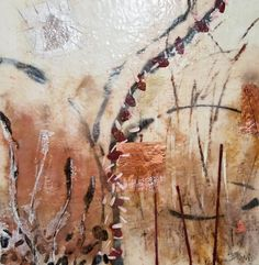 "Burnished Trees, encaustic, silver leaf, copper leaf and oil pigments on birch panel, 30 X 30"".  Inquire at website."