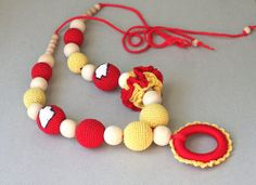 Crochet necklace Kansas City Chiefs football by ForeverValues, $29.00