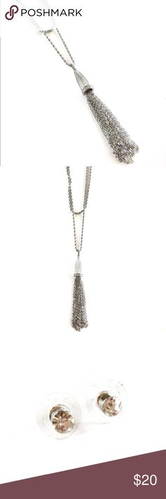 Double Stranded Silver Tassel Necklace Set This beautiful necklace features bright crystals that wrap around the head of the tassel. Come with cute sparkling stud earrings. All pictures are mine unless otherwise stated. Happy to answer any questions prior to purchase. 😊 LS & Co.  Jewelry Necklaces