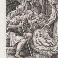 Aanbidding door de herders en engelen, Hieronymus Wierix, 1563 - before 1619 - Rijksmuseum