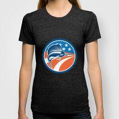 Sailfish Fish Jumping American Flag Circle Retro T-shirt