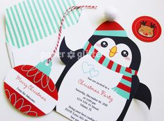Penguin Invitation or Card for Christmas  / Holiday Party and Envelope Set circle stickers and ornaments with Editable Text Feature-You 0099. $3.00, via Etsy.