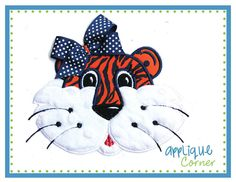 136 Tiger girl with tack down for bow applique digital design for embroidery machine by Applique Corner. $4.00, via Etsy.