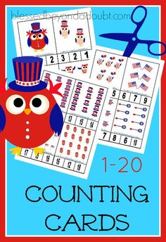 Free 4th of July counting cards for education activities during the summer months. The cards go up to 20.