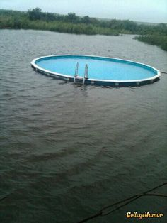 Above Ground Pool in Water.  Wow, too cool! This is a good idea for when I buy my lake house :-D