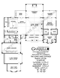 Long Lake Cottage House Plan # 11069, 1st Floor Plan, Mountain Style House Plans
